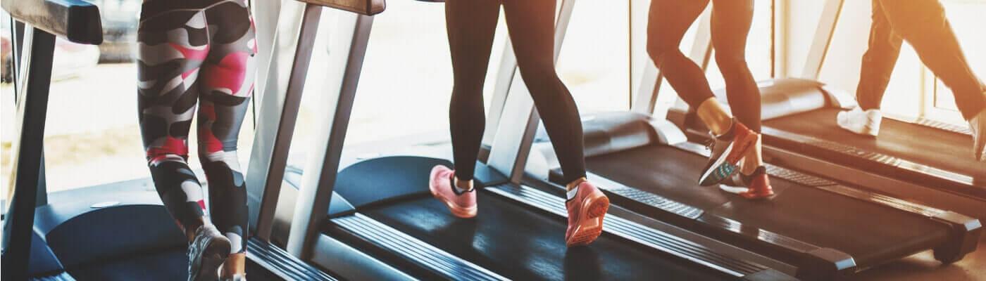Gym Goers On Treadmills