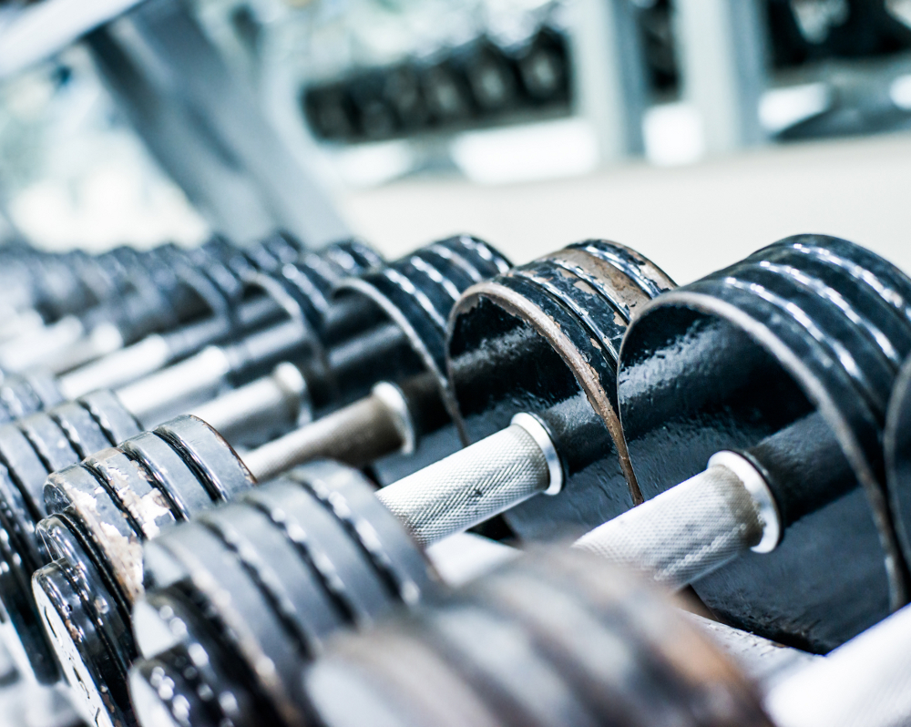 Multiple dumbbell weights on a rack