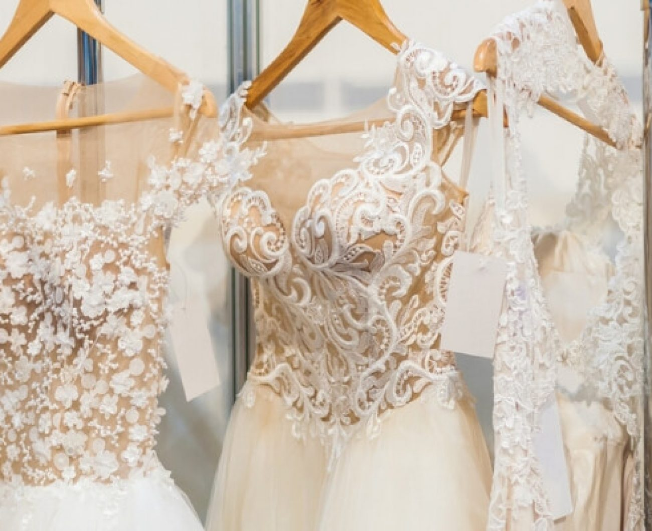 Wedding Dresses Hanging in a Shop